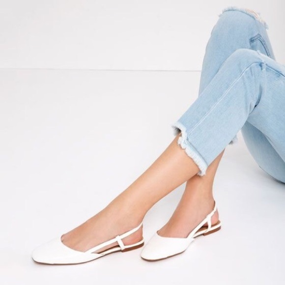 Zara Sling Back White Flats Slides
